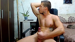 Guy with a big muscle and a big dick